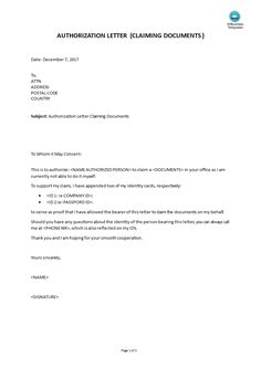 Authorisation Letter To Collect Documents From College