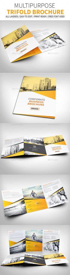 Multipurpose Trifold Brochure Template #design Download: http://graphicriver.net/item/multipurpose-trifold-brochure/13089777?ref=ksioks