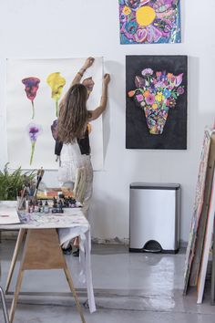 Lola Rose Thompson uses our rectangular liner rim can at her art studio. Lola Rose, Trash Bins, Brushed Stainless Steel, Shapes, Canning, Studio, Classic, Wall, Derby