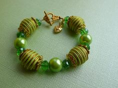 Lime Green Gold Corded Glass Beaded Bracelet by DwarfCreations, £6.00