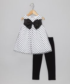 Take a look at this Black Polka Dot Bubble Tunic & Leggings - Toddler by Rare Editions on #zulily today!