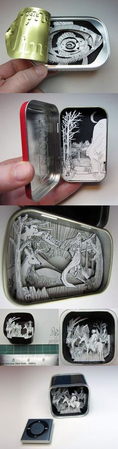 papírové krabičky s miniaturou shadow box tins: future Sean crafts. I already find these tins in every pocket he has, he might as well make little scenes for the inside. Altered Tins, Altered Art, Kirigami, Up Book, Book Art, Tunnel Book, Tin Art, High School Art, Tin Boxes