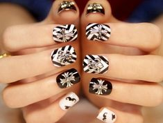 manucure-blanche-en-decoration-noire-formes-geometriques-style-unique