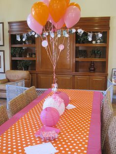 Wrapping paper table runner - and incorporated into the rest of the decor! Inexpensive but really cool way to theme it up. Cute baby girls birthday but fun for older girls events - luncheon, sleepover, team celebration