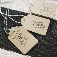 Love our calligraphy? Well you can now print them out using our free calligraphy hang tag printable! There's thank you, just for you, you're the best...