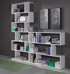 170gbp Ciara-Room-Divider-3-or-6-Tier-Bookcase-Ultra-Modern-Display-Unit-in-White