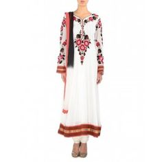 Floral Embroidered Pristine White Anarkali Suit