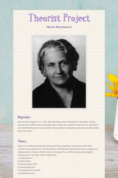 a biography of maria montessori an educational theorist Dr maria montessori's methods of early childhood education are still applied in montessori schools all over the globe learn more at biographycom italian physician maria montessori was a pioneer of theories in early childhood education maria montessori biography author website name.