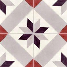 Carreau de ciment sol et mur gris noir rouge Etoile l.20 x L.20 cm Dalle Adhesive, Bordeaux, Patterned Kitchen Tiles, Ceramic Texture, Painted Floors, Stone Flooring, Tile Patterns, Bathroom Red, Decoration