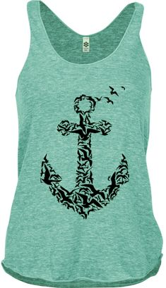 Womens Anchor Shirt Nautical Shirts Clothing Exercise Tops Active American apparel for the gym Athletic ( 5 Colors Available) on Etsy, $19.99
