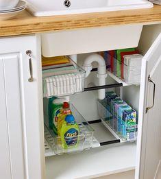 Kitchen Cupboard Shelves, Kitchen Cupboard Storage, Clean Kitchen Cabinets, Kitchen Rack, Kitchen Corner, Cleaning Cupboard Organisation, Home Organisation, Under Sink Organization Kitchen, Organised Kitchen Diy