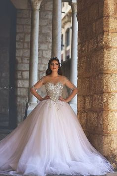 2016 Ball Gown Wedding Dresses Crystals Ball Mesh Long Sleeves Gorgeous Bridal Gowns