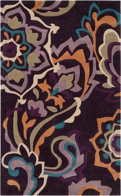 modernrugs.com cosmopolitan modern floral purple rug
