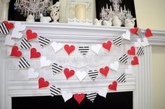 Paper Heart garland, valentines day garland, Queen of hearts birthday decorations, black white red wedding decor