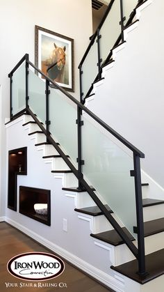 Browse our glass and cable railing idea photo gallery. Plan your next cable railing or glass system project with Ironwood Connections. Staircase Glass Design, Modern Staircase Railing, Cable Stair Railing, Staircase Lighting Ideas, Interior Stair Railing, Wrought Iron Stair Railing, Stair Railing Design, Iron Staircase, Modern Stairs