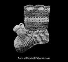 Vintage 1920's Crochet Baby Booties - Free Crochet Baby Booties Pattern