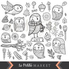 Cute Hand Drawn Owl Clip Art, Digital Owl Clipart, Doodle Clipart, Owl Illustration, Instant Download, Digital Stamping, SVG by LePetiteMarket on Etsy https://www.etsy.com/listing/465178761/cute-hand-drawn-owl-clip-art-digital-owl