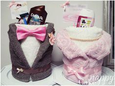 Gateau de serviettes bustes mariés Nappy Cake créations gateau de couches cadeau de mariage #mariée