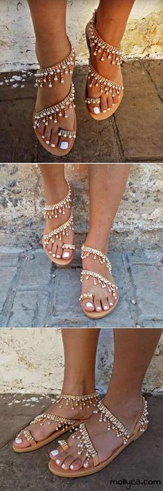 off, Women Leather Sandals Casual Pearls Shoes Leather Sandals, Shoes Sandals, Heels, Gladiator Sandals, Cute Shoes, Me Too Shoes, Fashion Shoes, Fashion Accessories, Pearl Shoes