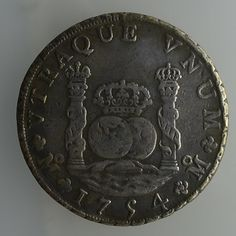 1754 Mexico 8 reales, Spanish Colonial Silver DOS MUNDOS or PILLAR COINAGE