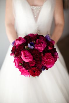 Romantic red, pink and hint of purple bouquet for our vintage bride!