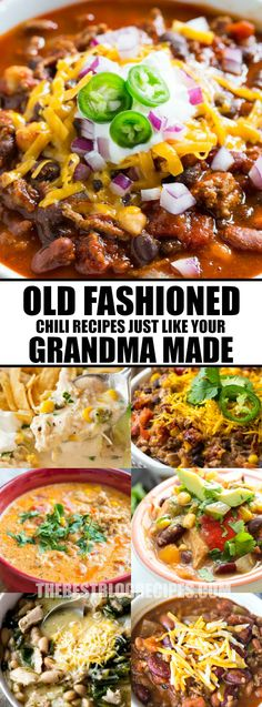These Old Fashioned Chili Recipes just like your grandma made make the perfect dinner for family and friends when the weather turns cold outside! via @bestblogrecipes