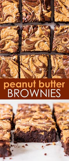 Fudgy Peanut Butter Swirl Brownies (Gluten Free) - There are few things better than these peanut butter swirl brownies. They're perfectly fudgy, and the peanut butter swirl (aside from being drop dead gorgeous) pairs perfectly with the chocolatey b Peanut Butter Swirl Brownies, Gluten Free Peanut Butter, Best Peanut Butter, Peanut Butter Recipes, Peanut Brownies, Tray Bake Recipes, Easy Baking Recipes, Healthy Dessert Recipes, Fun Desserts