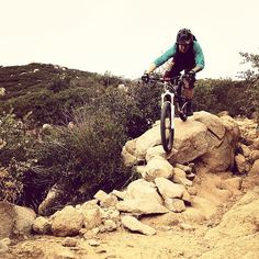 Assistant photo editor Anthony Smith riding the spine on Chiquito trail. Mountain Bike.