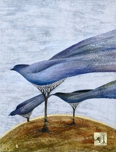 """Nest Building"" - 33.8""x27.9"" (86x71cm) $500 Mixed media art. Wax painting cotton and linen with acrylic"