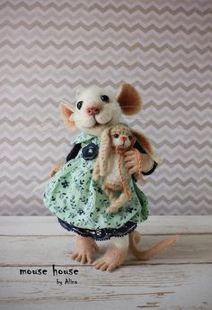 Mouse with Bunny Needle Felted Mouse Soft Sculpture