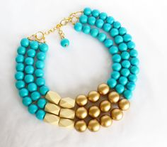 COLOR BLOCK Wood Necklace - Turquoise and Gold Beaded Necklace - Anthropologie Inspired. $55.00, via Etsy.