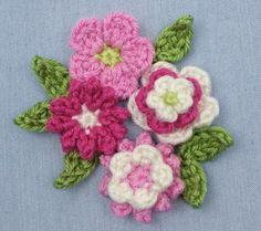 free pattern: Posy Blossoms (flowers & leaves)