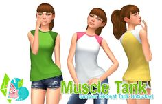 Outdoor Retreat Muscle Tank Untucked - I saw a request for this tank to be untucked and the logos removed. I liked the idea and thought I'd used it in my game so I recolored it a bunch of times! The...