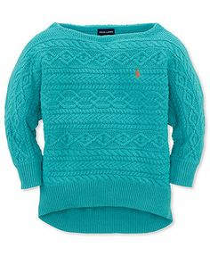 Ralph Lauren Kids Sweater, Girls Solid Boatneck Cable Pullover