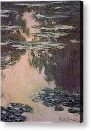 Floral Painting Canvas Prints - Waterlilies with Weeping Willows Canvas Print by Claude Monet
