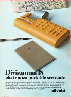 Pubblicità Advertising Werbung 1975 OLIVETTI Divisumma 18