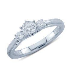 Elegant Three Stone Diamond Promise Ring In 14K White Gold    $1,279.00