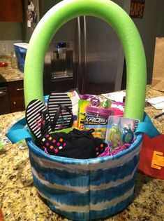 Children summer gift basket large good idea for someone having a childs summer gift basket tie die basket from target pool noodle roxy sandals bikini water balloons beach towel candy goggles negle Choice Image