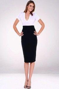 BNWT black wool rich tailored straight skirt   size 20 R