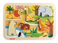 Janod - Chunky, Puzzle para encajar animales de zoo