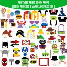 Instant Download Combined Disney Princess Marvel Inspired Printable Photo Booth Prop Set 2 — Amanda Keyt DIY Photo Booth Props & More!