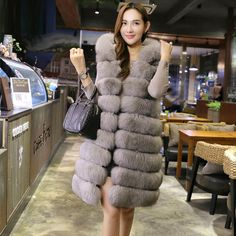82cf7ab2183 2017 Fashion Faux Fox Fur Long Vest With Hooded Women Winter Thick Warm  Artificial Fur Vests Fur Coat Female Jackets S 4XL PC246-in Faux Fur from  Women s ...