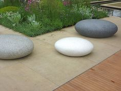 Art or furniture?   Giant pebble seats by Ben Barrell in the Brewin Dolphin Garden, Chelsea 2013