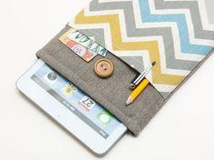 Ipad mini Case. Ipad mini bag. Ipad mini sleeve. Ipad mini cover with chevron print pocket and button closure. Custom order available.
