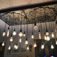 Black Industrial Tin Chandelier - Vintage Metal Chandelier With Nostalgic Bulbs Industrial Chandelier, Rustic Chandelier, Vintage Chandelier, Pendant Chandelier, Industrial Lighting, Modern Lighting, Chandeliers, Custom Lighting, Halloween Crafts