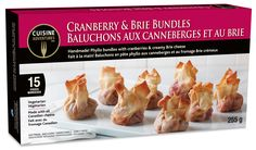 Frozen snacks and meals for every day and any occasion! Www.cuisineadventures foods.com  Cranberry brie bundles from freezer to oven to mouth