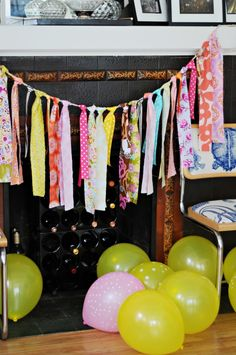 Handmade fabric scrap bunting - perfect touch of color to this Southern-inspired baby shower!