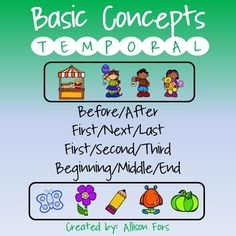 Temporal Concepts:Printable, ready to use worksheets to target basic to complex temporal concepts! Before/After - 3 pagesFirst/Next/Last & First/Second/Third - 2 pagesBeginning/Middle/End - 2 pagesLaminate for durability and kids love to circle or cross out pictures with a whiteboard marker!Be sure to look at the preview to see what's included.*****************************************************************************Check out these related products:Quantitative ConceptsQualitative Con...