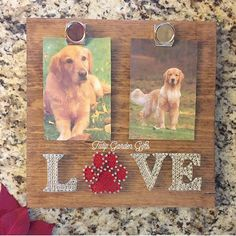 String Art Photo Display, String Art Paw Print Pet Picture Holder by TulipGardenGifts