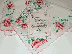 Birthday Vintage Style Cotton Hankie
